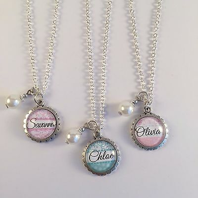 """Personalised"" Girls Name Necklace Pendant with pearl charm Gift"