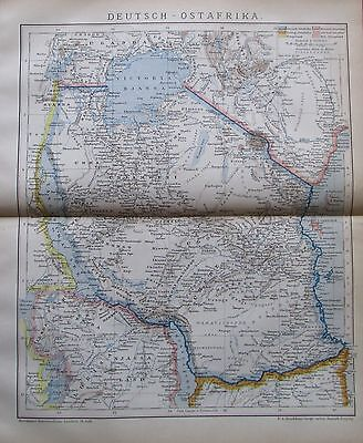 1892 Deutsch-Ostafrika Afrika historische Landkarte Lithographie antique map