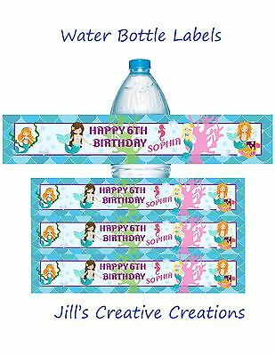 Mermaid water bottle labels, Mermaids, Birthday, Water Bottle labels