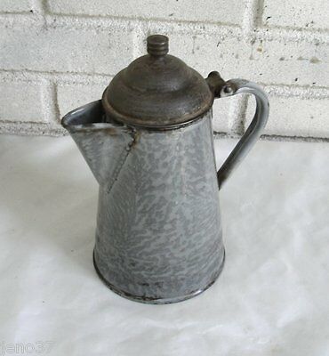 Nice Antique Grey Graniteware Enamelware Coffeepot Coffee Pot