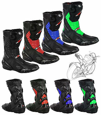 Full Leather Motorbike Motorcycle Boots Armoured Long Ankle Shoes Racing Sports