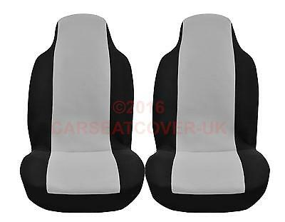 VW Caddy Maxi Camper - Luxury GREY and BLACK Van Seat Covers - 2 x Fronts