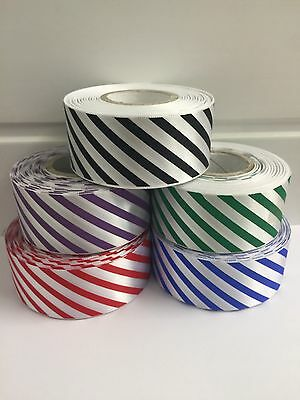 25mm or 38mm Candy Stripe Ribbon 2 or 20 metre Barber Shop Diagonal UK VAT Reg