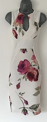 White Floral Rose Evening Party Dress Pencil Bodycon 8 10 12 14 16 BNWT