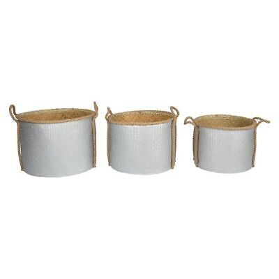 NEW Casa Uno Round Storage Basket With Rope Handle (Set of 3) in Black, Silver