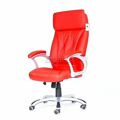 FoxHunter Computer Executive Office Chair PU Leather Swivel High Back OC06 Red