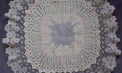 BIG & MASTERLY French Wedding Handkerchief, FAB Whitework Embroidery, Val Lace