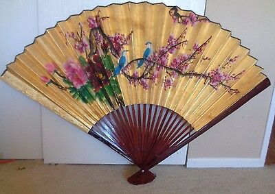 """Vintage Large Asian Gold Fan Wall Decor Hand Painted Birds Blue XL 50"""" X 33"""""""