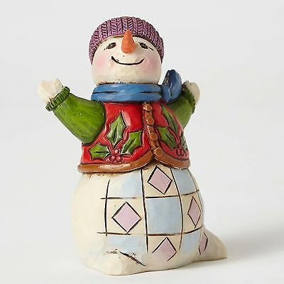 Enesco Heartwood Creek Jim Shore Christmas Mini Snowman w/ Holly Vest 4053824