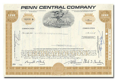 Penn Central Company Stock Certificate