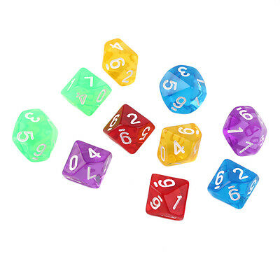 10pcs/Set Games Multi Sides Dice D10 Gaming Dices Game Playing 5 Color DP