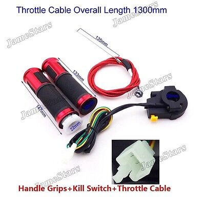 Gas Motorized Bicycle Red Twist Handle Grip Kill Switch Throttle Cable