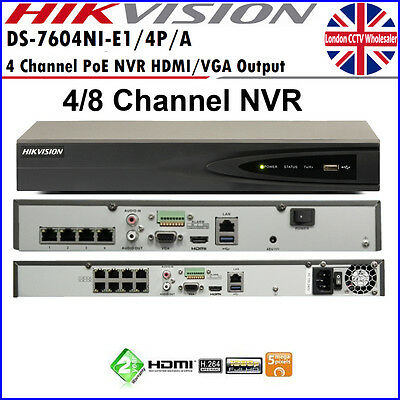 Hikvision 4/8/16 Channel IP NETWORK NVR 1080P ONVIF HD RECORDER NVR with POE