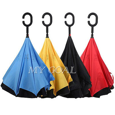 Double Layer Windproof Umbrella Inside Inverted Upside Down Self Standing Gift