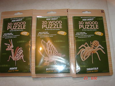 3D WOOD PUZZLE x 3 Tarantula Mantis and Butterfly