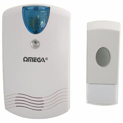 Omega 17526 Plug In Wireless Door Chime LED Flashing Doorbell 75M Range Home NEW