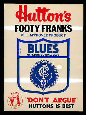 1981 Hutton's  Footy Franks Carlton Blues Sticker RARE Don't Argue Huttons