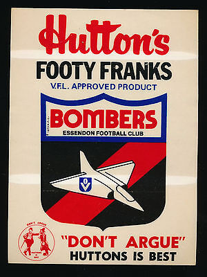 1981 Hutton's Footy Franks Essendon Bombers Sticker RARE Don't Argue Huttons