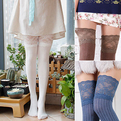 Women Lace Knitting Cotton Over Knee Thigh Stockings High Socks Tights Pantyhose