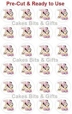 24x BABY MINNIE MOUSE 1st Birthday No.1 & Cake - Edible Wafer Cupcake Toppers