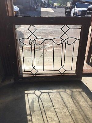 "Sg 819 Antique Leaded Glass Window 25"" X 28.5"""