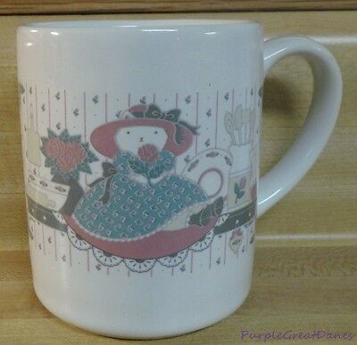 MUG or CUP White Cat Hat Green Dress Holding a Rose Kitten Matches CHD Canister