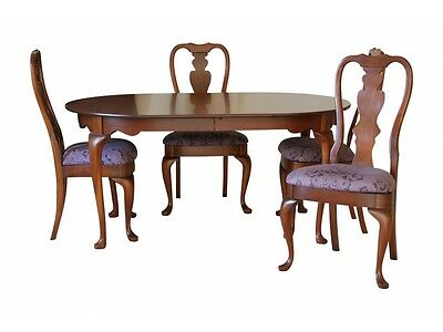 Hitchcock Chair Co. Queen Anne Cherry Dining Set Table Four Chairs (27073)
