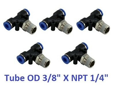 "Branch Tee Air Swivel Connector Tube OD 3/8"" X NPT 1/4"" Push In Fitting 5 Pieces"