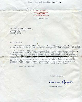 Bertrand Russell NOBEL PRIZE autograph, typed letter signed