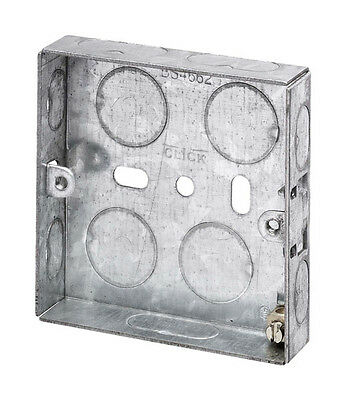 2 Gang 25mm Galvanised Steel Electrical Knockout Back  Wall Box  2g x 25mm X 1