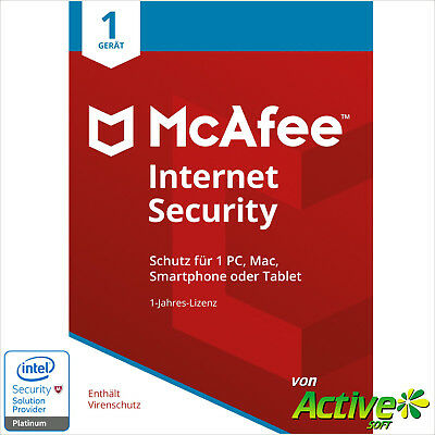 McAfee Internet Security 2019 | 1PC 1Jahr | VOLLVERSION / Upgrade | DE UE 2018