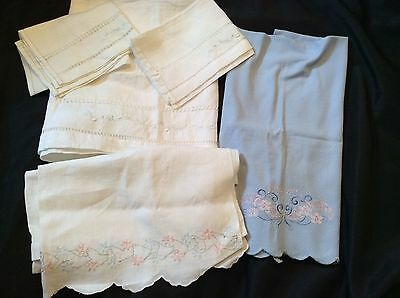 Vintage Hand Embroidered  Linens Lot Of 5