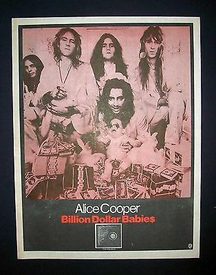 Alice Cooper Billion Dollar Babies 1973 Poster Type Ad (Rare Color Variation)