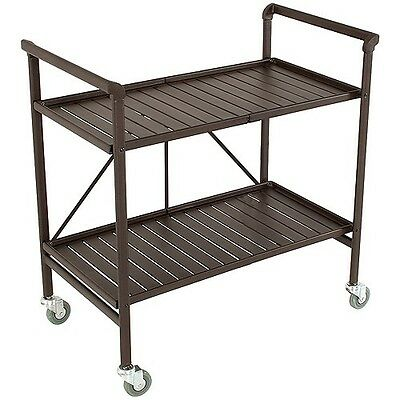 Brown Indoor or Outdoor Folding, Metal, Rolling Serving Cart Sturdy no tool need
