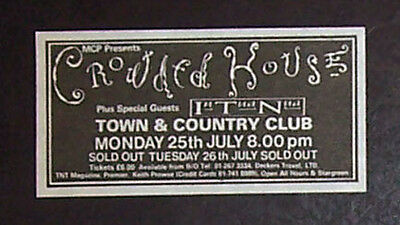 Crowded House Temple of Low Men Tour 1988 Small Concert Advert, Promo Ad
