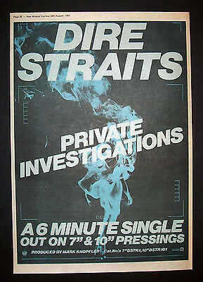 Dire Straits Private Investigation 1982 Poster Type Ad Promo Advert