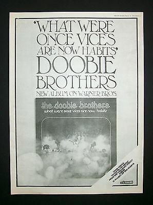 Doobie Brothers What Were Once Vices Are Now Habits 1974 Poster Type Ad, Advert