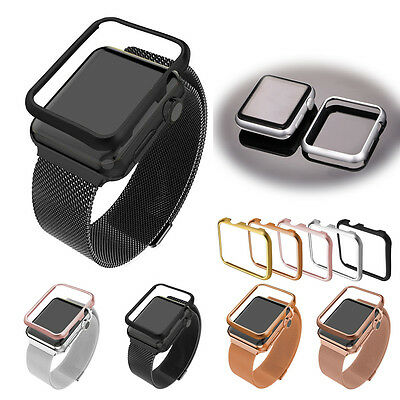 Milanese Stainless Steel Loop band Strap Aluminum Frame For Apple Watch Series 1