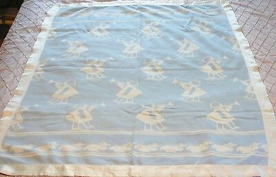 Vtg LITTLE  BOY BLUE PLAYING HORN CALLING SHEEP REVERSIBLE Baby Blanket