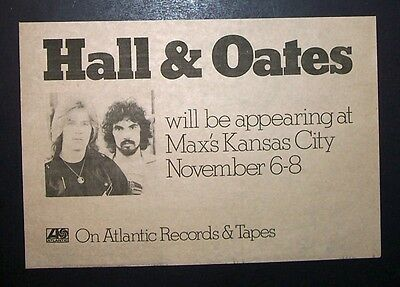 Hall & Oates Max's Kansas City, NYC Concerts 1973 Small Poster Type Ad, Advert