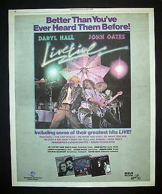 Hall And Oates Livetime 1978 Poster Type Advert, Promo Ad 2