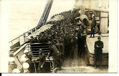 RPPC, Troops on a Ship, WWI, Unposted , Lot #6533