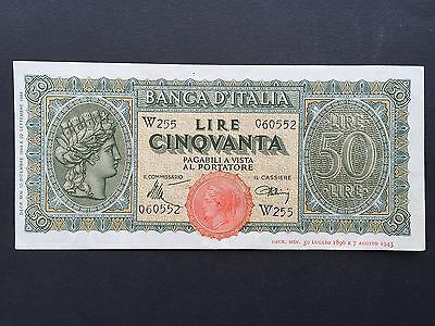 Italy 50 Lire P74 Very Scarce Replacement Note W255 060552 Dated 1944 EF