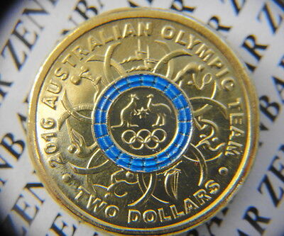 2016  Australian  $2  Two Dollars Olympic  Blue   Ring Stripe Coin  Unc
