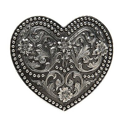 *NEW* Ladies Antique Silver Scrolled Small Heart Buckle AndWest Western Country