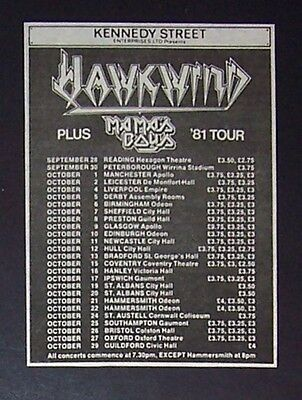 Hawkwind Sonic Attack UK Tour 1981 Small Concert Ad, Promo Advert
