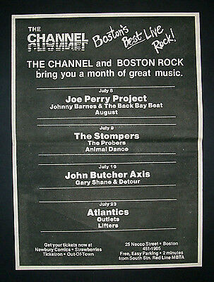 Joe Perry Project (Aerosmith) Channel Club Boston Show 1982 Poster Type Ad