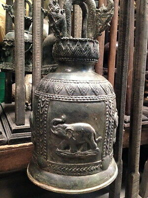 Bell Vintage Antique Style Chime Elephant Naga Buddhist Clapper Thai Temple Art