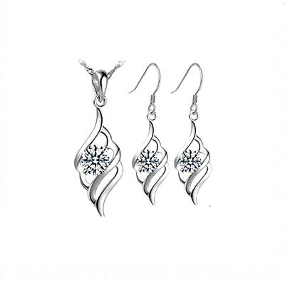 Women's 925 Sterling Silver Wave Pendant Necklace and Earrings Jewellery Set