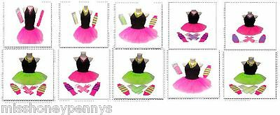 Neon Tutu Skirt 80S Fancy Dress Hen Party Fun Run Beads Legwarmers Gloves Plus